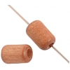 Wood Bead Cylinder Large Hole 6X9mm Polished Light Brown